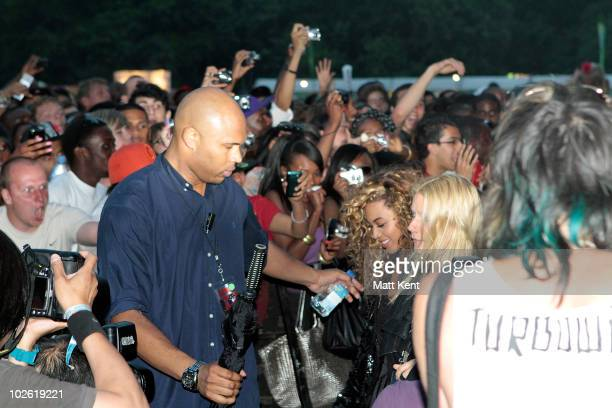 Beyonce attends on day 3 of the Barclaycard Wireless Festival at Hyde Park on July 4 2010 in London England