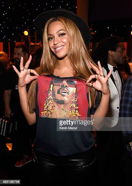 Beyonce attends Stevie Wonder Songs In The Key Of Life An AllStar GRAMMY Salute at Nokia Theatre LA Live on February 10 2015 in Los Angeles California