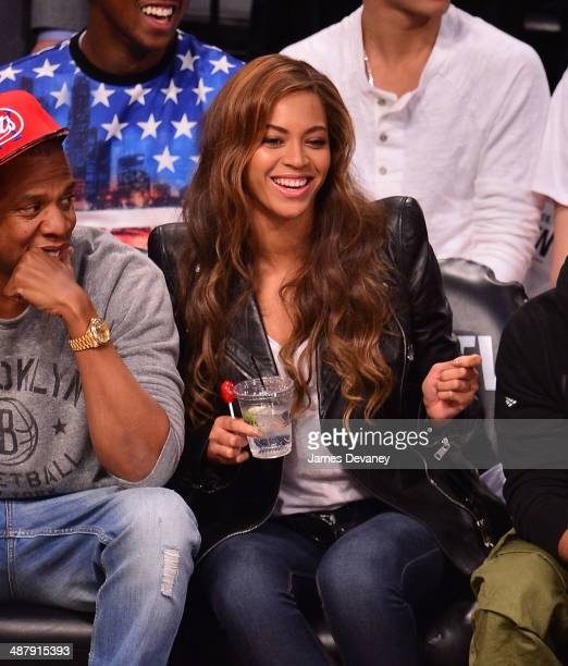 Beyonce attends the Toronto Raptors vs Brooklyn Nets game at Barclays Center on May 2 2014 in the Brooklyn borough of New York City
