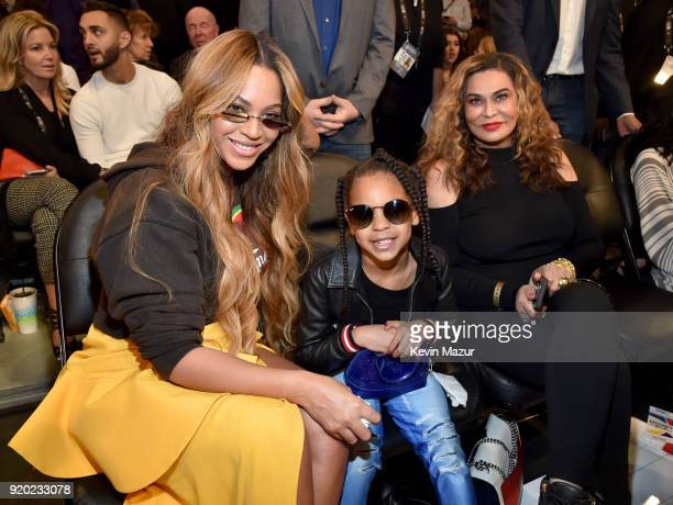 Beyonce, Blue Ivy Carter, and Tina Knowles attend the 67th NBA All-Star Game: Team LeBron Vs. Team Stephen at Staples Center on February 18, 2018 in...