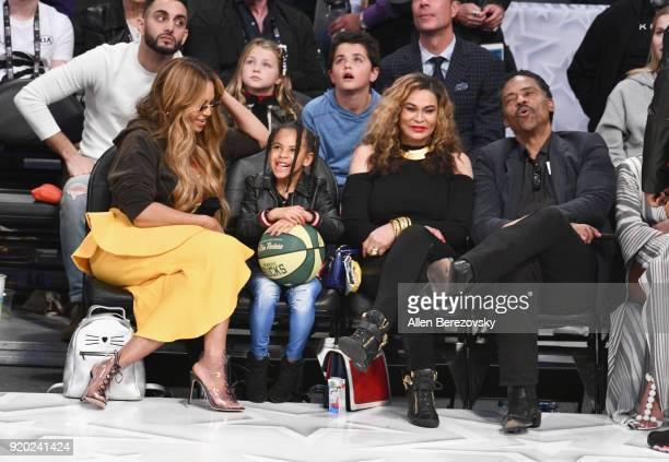 Beyonce, Blue Ivy Carter, Tina Knowles and Richard Lawson attend the NBA All-Star Game 2018 at Staples Center on February 18, 2018 in Los Angeles,...
