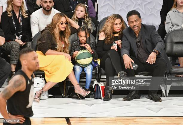 Beyonce Blue Ivy Carter Tina Knowles and Richard Lawson attend the NBA AllStar Game 2018 at Staples Center on February 18 2018 in Los Angeles...