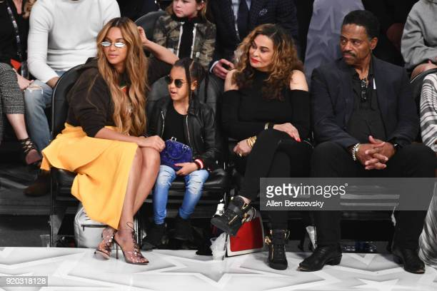 Beyonce Blue Ivy Carter Tina Knowles and Richard Lawson attend The 67th NBA AllStar Game Team LeBron Vs Team Stephen at Staples Center on February 18...