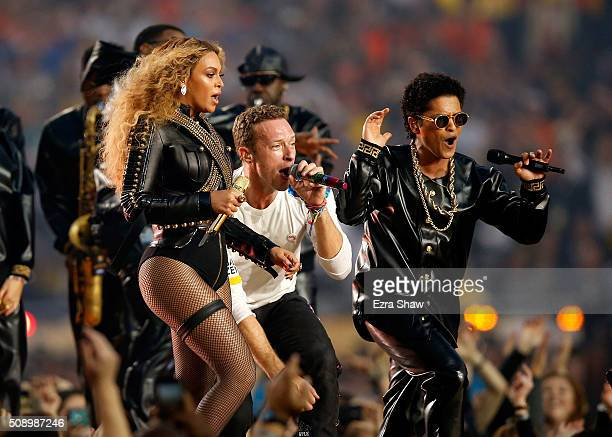 Beyonce, Chris Martin of Coldplay and Bruno Mars perform during the Pepsi Super Bowl 50 Halftime Show at Levi's Stadium on February 7, 2016 in Santa...