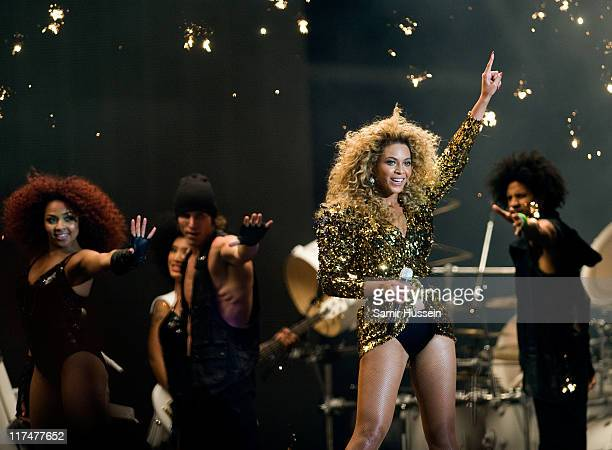 Beyonce headlines the Pyramid Stage at the Glastonbury Festival at Worthy Farm Pilton on June 26 2011 in Glastonbury England The festival which...