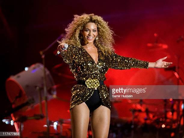 Beyonce headlines the Pyramid Stage at the Glastonbury Festival at Worthy Farm Pilton on June 26 2011 in Glastonbury England The festival which...