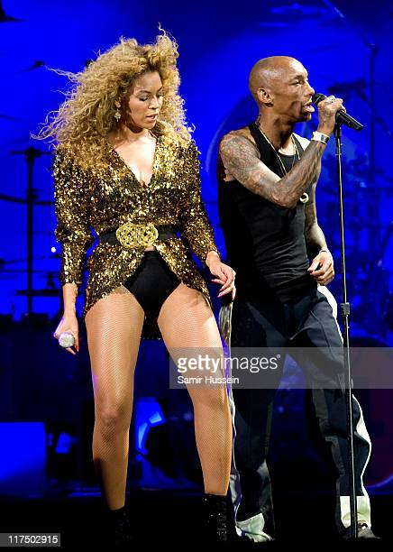 Beyonce is joined by Tricky as she headlines the Pyramid Stage at the Glastonbury Festival at Worthy Farm Pilton on June 26 2011 in Glastonbury...