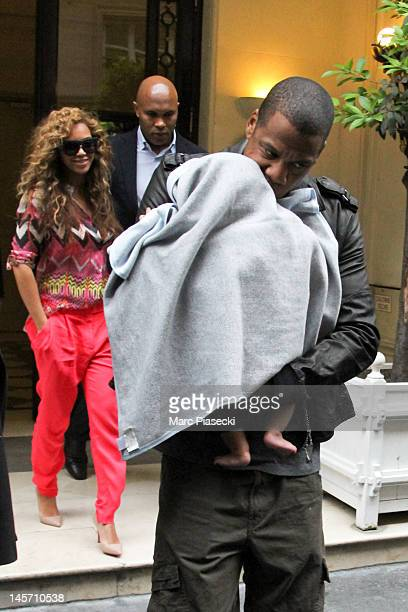 Beyonce Jay Z and their baby Blue Ivy Carter leave the 'MEURICE' hotel on June 4 2012 in Paris France