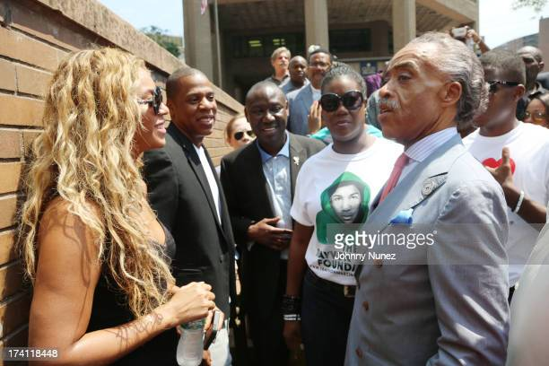 Beyonce Jay Z attorney Benjamin Crump Sybrina Fulton and Al Sharpton attend National Action Network 100 City 'Justice For Trayvon' Vigil on July 20...