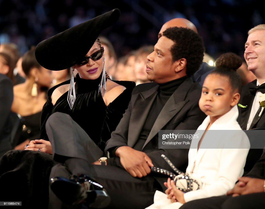 Beyonce, Jay-Z and Blue Ivy Carter attends the 60th Annual GRAMMY Awards at Madison Square Garden on January 28, 2018 in New York City.