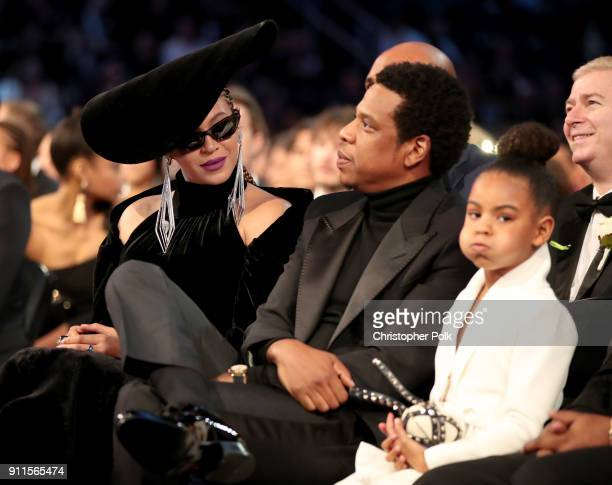 Beyonce JayZ and Blue Ivy Carter attends the 60th Annual GRAMMY Awards at Madison Square Garden on January 28 2018 in New York City