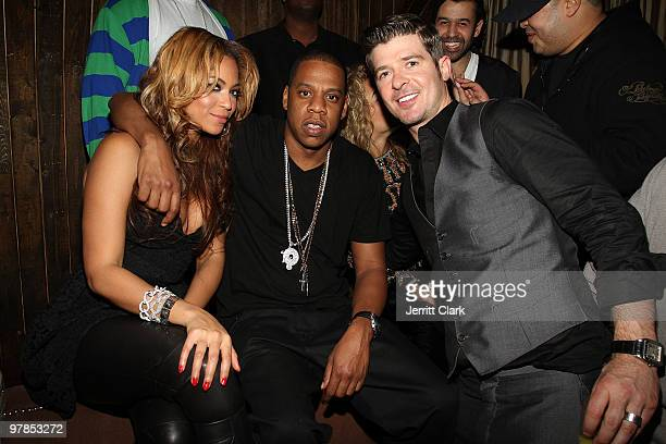 NEW YORK MARCH 17 Beyonce JayZ and Robin Thicke attend Robin Thicke's birthday celebration at 1OAK on March 17 2010 in New York City