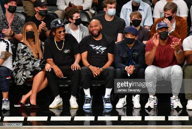 Beyonce, Jay-Z, guests and Michael Strahan attend Brooklyn Nets v Milwaukee Bucks game at Barclays Center of Brooklyn on June 05, 2021 in New York...