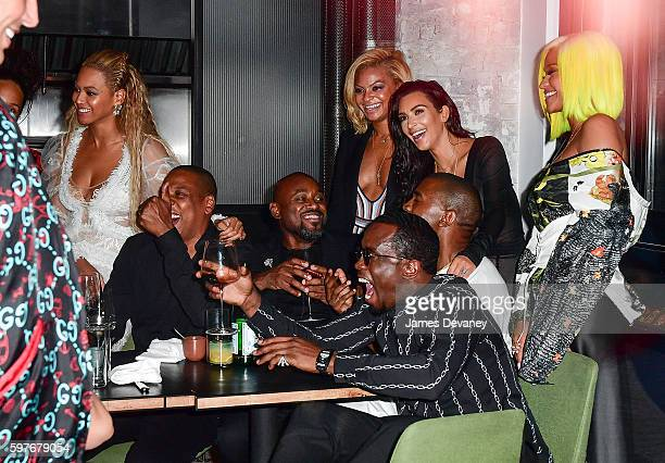 Beyonce JayZ Kanye West Kim Kardashian Sean 'Diddy' Combs and Cassie celebrate their 2016 MTV Video Music Awards After Party at Pasquale Jones on...