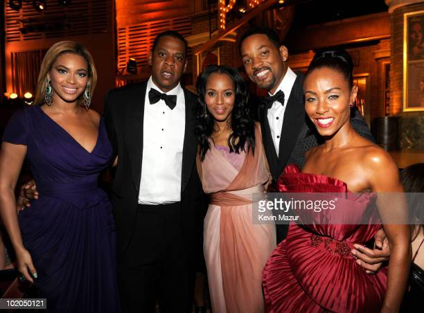 Beyonce, Jay-Z, Kerry Washington, Will Smith and Jada Pinkett Smith in the audience at the 64th Annual Tony Awards at Radio City Music Hall on June...