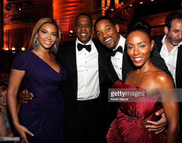 Beyonce, Jay-Z, Will Smith and Jada Pinkett Smith in the audience at the 64th Annual Tony Awards at Radio City Music Hall on June 13, 2010 in New...