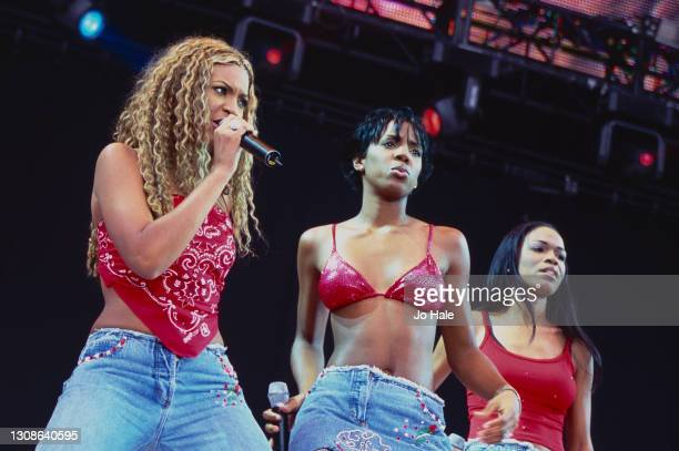 July 09: Beyonce, Kelly Rowland and Michelle Williams of Destiny's Child perform at Party in the Park in Hyde Park, on 9th July, 2000 in London,...