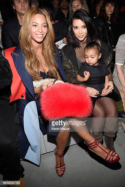 Beyonce Kim Kardashian and daughter North attend the adidas Originals x Kanye West YEEZY SEASON 1 fashion show during New York Fashion Week Fall 2015...