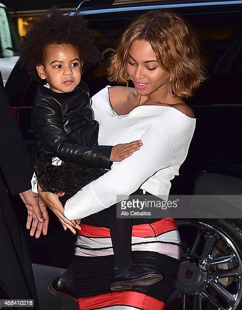 Beyonce Knowles and Blue Ivy Carter are seen in Midtown on November 4, 2014 in New York City.