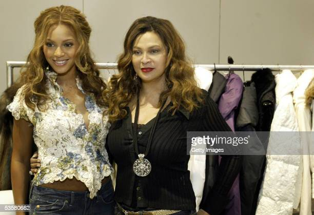 Beyonce Knowles and her mother Tina Knowles unveil their new clothing line House of Dereon at Project Las Vegas clothing trade show in Las Vegas on...
