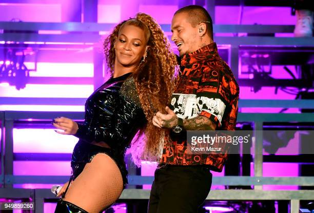 Beyonce Knowles and J Balvin perform onstage during the 2018 Coachella Valley Music And Arts Festival at the Empire Polo Field on April 21 2018 in...