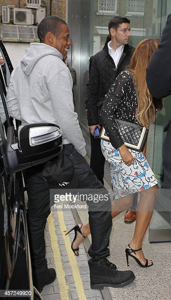Beyonce Knowles and Jay Z are seen at White Cube Mason's Yard gallery on October 15 2014 in London England