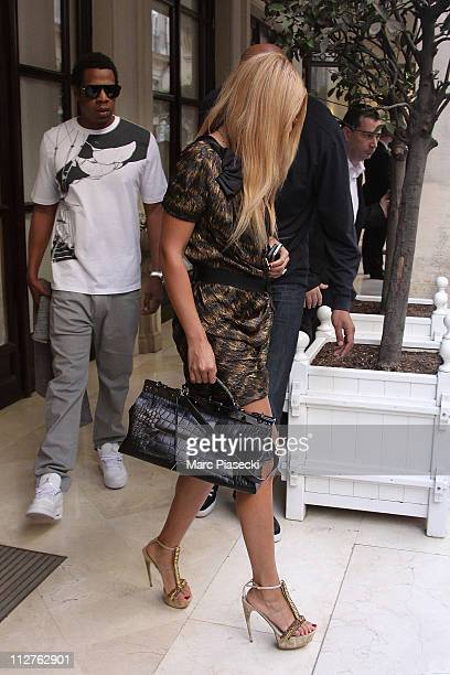 Beyonce Knowles and Jay Z leave their hotel to celebrate their wedding anniversary on a romantic dinner at 'L'Avenue' restaurant on April 20 2011 in...
