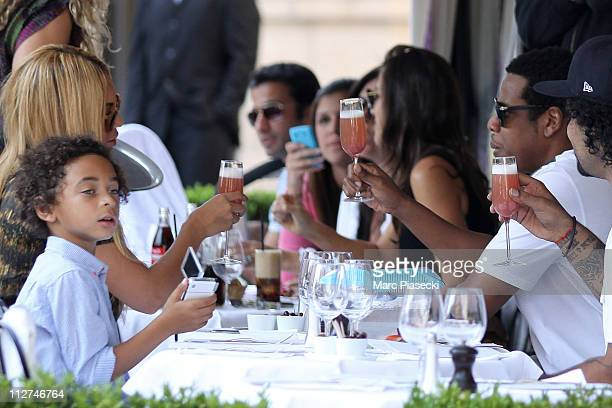 Beyonce Knowles and JayZ celebrate their wedding anniversary on a romantic dinner at L'Avenue restaurant on April 20 2011 in Paris France