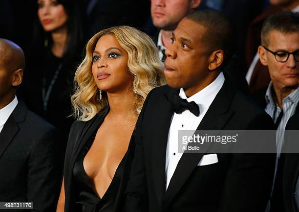 Beyonce Knowles and JayZ look on before Miguel Cotto takes on Canelo Alvarez in their middleweight fight at the Mandalay Bay Events Center on...