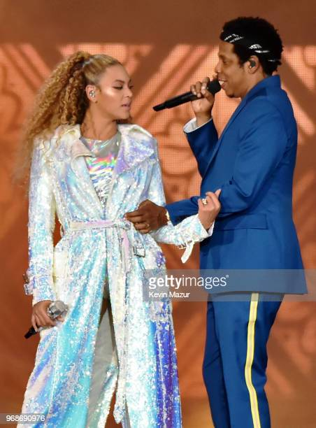 Beyonce Knowles and JayZ perform on stage during the On the Run II tour opener at Principality Stadium on June 6 2018 in Cardiff Wales