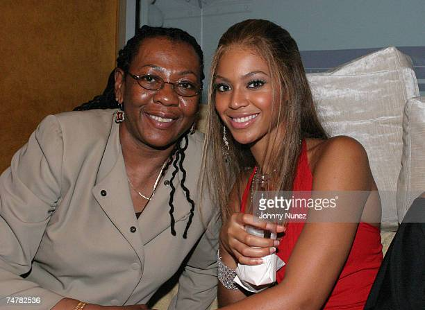 Beyonce Knowles and JayZ's mother at the 40/40 Sports Bar in New York City New York