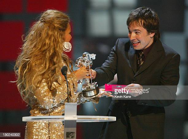 Beyonce Knowles and Jimmy Fallon during 2003 MTV Video Music Awards Show at Radio City Music Hall in New York City New York United States