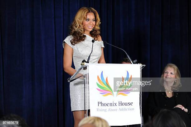 Beyonce Knowles and Karen CarpenterPolumbo attend the unveiling of the Beyoncé Cosmetology Center on March 5 2010 in New York City