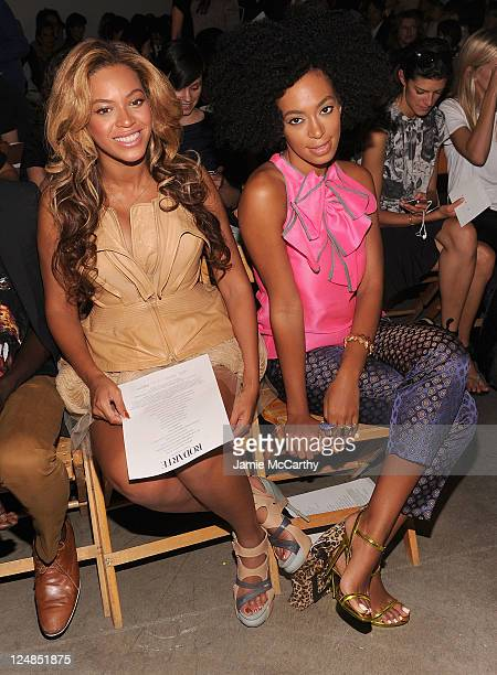 Beyonce Knowles and Solange Knowles attend the Rodarte Spring 2012 fashion show during MercedesBenz Fashion Week at on September 13 2011 in New York...