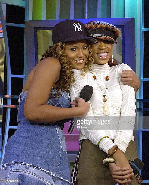 """Beyonce Knowles and Solange Knowles during """"Spankin' New Music Week"""" with Jay-Z, Beyonce Knowles and Solange Knowles on MTV's """"TRL"""" - November 21,..."""