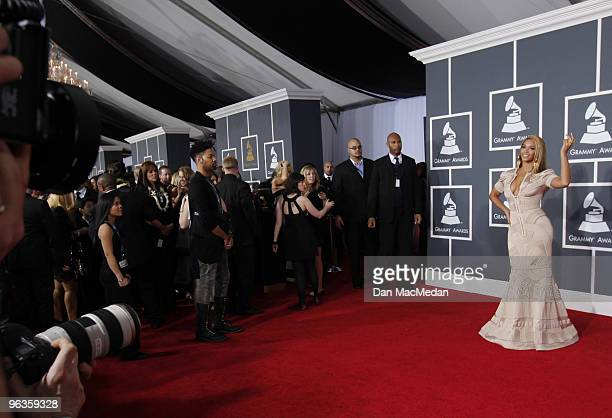 Beyonce Knowles arrives at the 52nd Annual GRAMMY Awards held at Staples Center on January 31 2010 in Los Angeles California