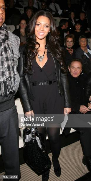 Beyonce Knowles attends the Emporio Armani Autumn/Winter 2008/2009 fashion show as part of Milan Fashion Week on January 13 2008 in Milan Italy