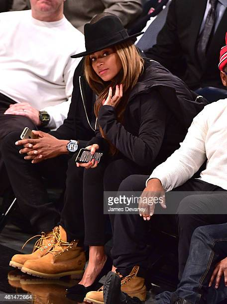 Beyonce Knowles attends the Houston Rockets vs Brooklyn Nets game at Barclays Center on January 12 2015 in New York City