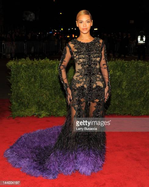 Beyonce Knowles attends the Schiaparelli And Prada Impossible Conversations Costume Institute Gala at the Metropolitan Museum of Art on May 7 2012 in...