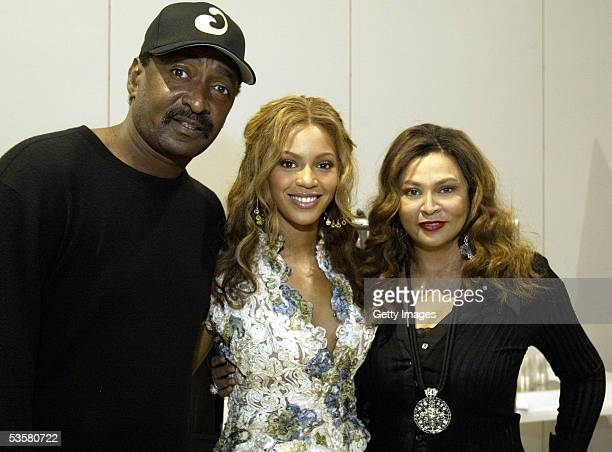Beyonce Knowles center with her father Mathew Knowles and her mother Tina Knowles unveil the new clothing line House of Dereon at Project Las Vegas...