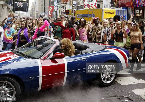Beyonce Knowles drives Austin Powers' car during Mike Myers and Beyonce Knowles Promote Austin Powers in Goldmember on MTV's TRL at Times Square in...