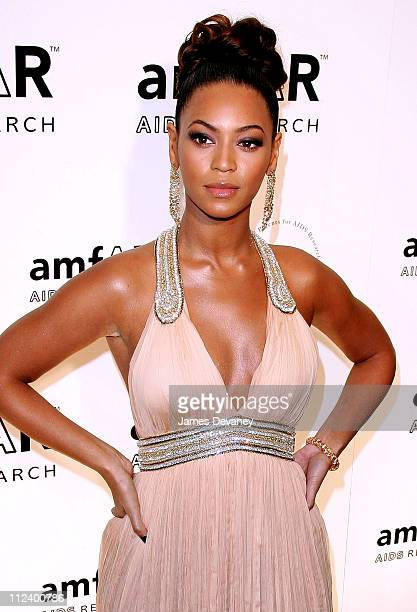 Beyonce Knowles during AmfAR New York City Gala Honoring John Demsey Whoopi Goldberg and Bill Roedy Arrivals at Cipriani 42nd Street in New York City...