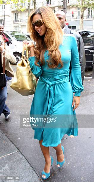 Beyonce Knowles during Beyonce Knowles Sighting as she Leaves her Paris Hotel in Paris France