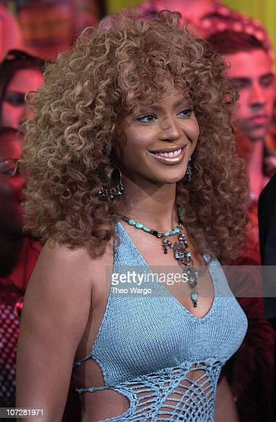 Beyonce Knowles during Mike Myers and Beyonce Knowles Visit MTV's TRL to promote Austin Powers in Goldmember July 26 2002 at MTV Studios Times Square...