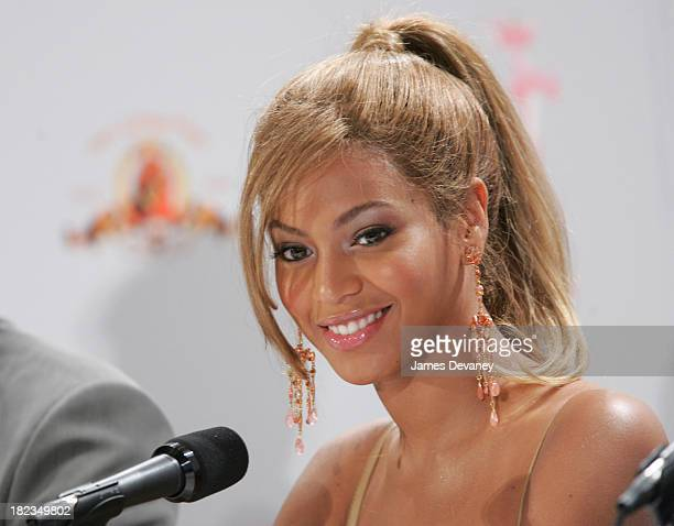 Beyonce Knowles during Production Begins on the New Pink Panther Press Conference at WaldorfAstoria in New York City New York United States