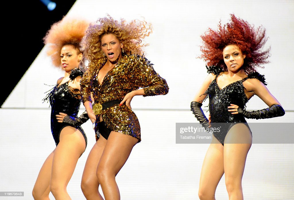 Beyonce Knowles headlines the Pyramid stage on the fourth and final day of Glastonbury Festival 2011 at Worthy Farm on June 26, 2011 in Glastonbury, United Kingdom.