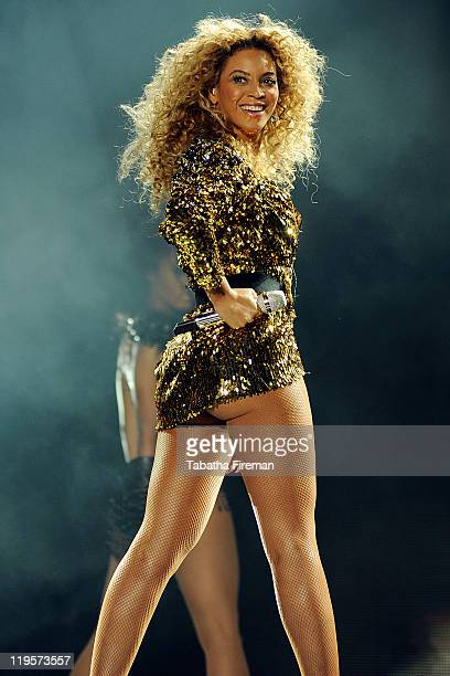 Beyonce Knowles headlines the Pyramid stage on the fourth and final day of Glastonbury Festival 2011 at Worthy Farm on June 26, 2011 in Glastonbury,...