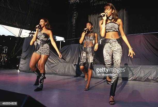 Beyonce Knowles Kelly Rowland and Michelle Williams of Destinys Child perform at Shoreline Amphitheatre on May 26 1998 in Mountain View California