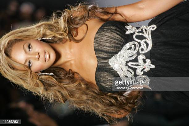 Beyonce Knowles models during the 'Fashion For Relief' charity runway event in Bryant Park New York City on September 16 2005 The celebrity fashion...