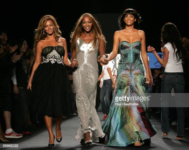 Beyonce Knowles Naomi Campbell and Veronica Webb walks the runway at the 'Fashion for Relief' fashion show with proceeds going to aid Hurricane...